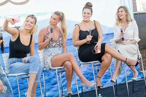 HOUSTON, TX - FEBRUARY 18:  (L-R) SI Swimsuit models Hailey Clauson, Nina Agdal, Ashley Graham, and Kate Upton speak during a panel at the VIBES by Sports Illustrated Swimsuit 2017 launch festival on February 18, 2017 in Houston, Texas.  (Photo by Rick Kern/Getty Images for Sports Illustrated)