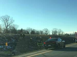 A rollover crash on Monday, Feb. 20, 2017, on the Northway southbound near Exit 11. (Provided photo)