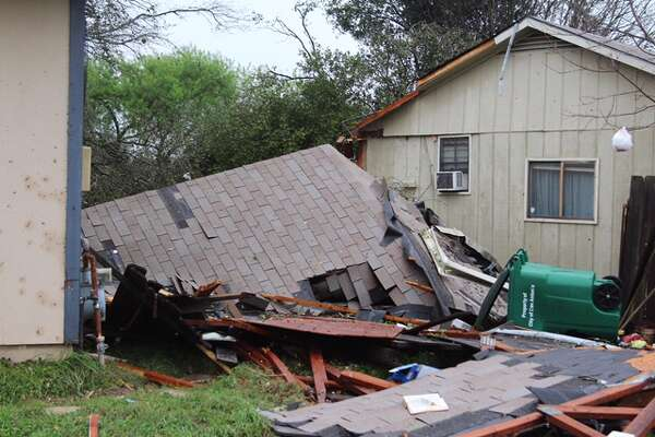 A home in the 4700 block of Crested Grove suffered severe damage when heavy storms hit San Antonio's northeast side on Monday, Feb. 20, 2017.