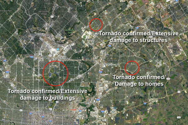 Violent storms swept through the San Antonio area Sunday night, Feb. 19, 2017 into Monday, causing extensive damage to homes and other buildings on the North and Northeast Side.