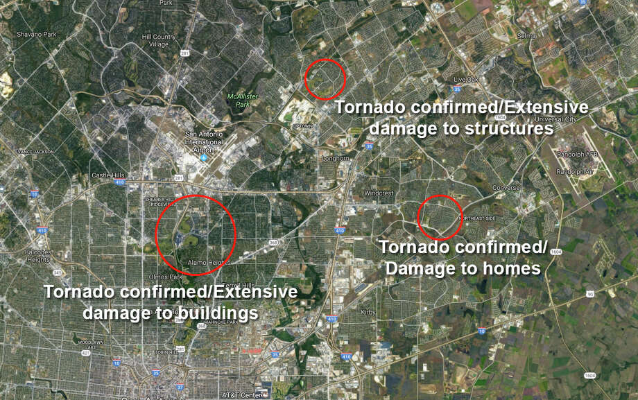 Violent storms swept through the San Antonio area Sunday night, Feb. 19, 2017 into Monday, causing extensive damage to homes and other buildings on the North and Northeast Side. Photo: SAEN/Google Maps