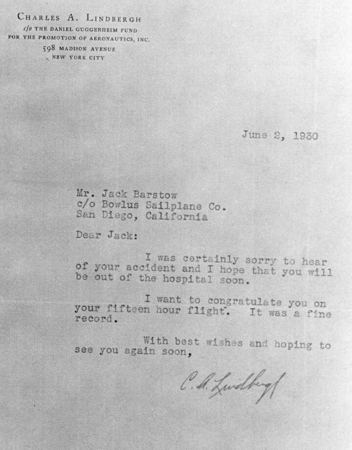 A letter dates June 2, 1930, to Jack Barstow from Charles Lindbergh. Barstow, a Midland-based pilot, taught friend Charles Lindbergh some helpful techniques for flying gliders. Photo: Daily News File Photo