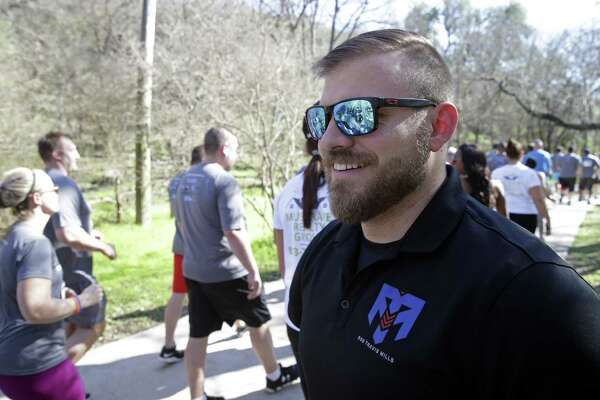 Travis Mills, a quadruple amputee Army veteran serves as the honorary starter for 5K run at Lady Bird Johnson Park on February 17, 2017.