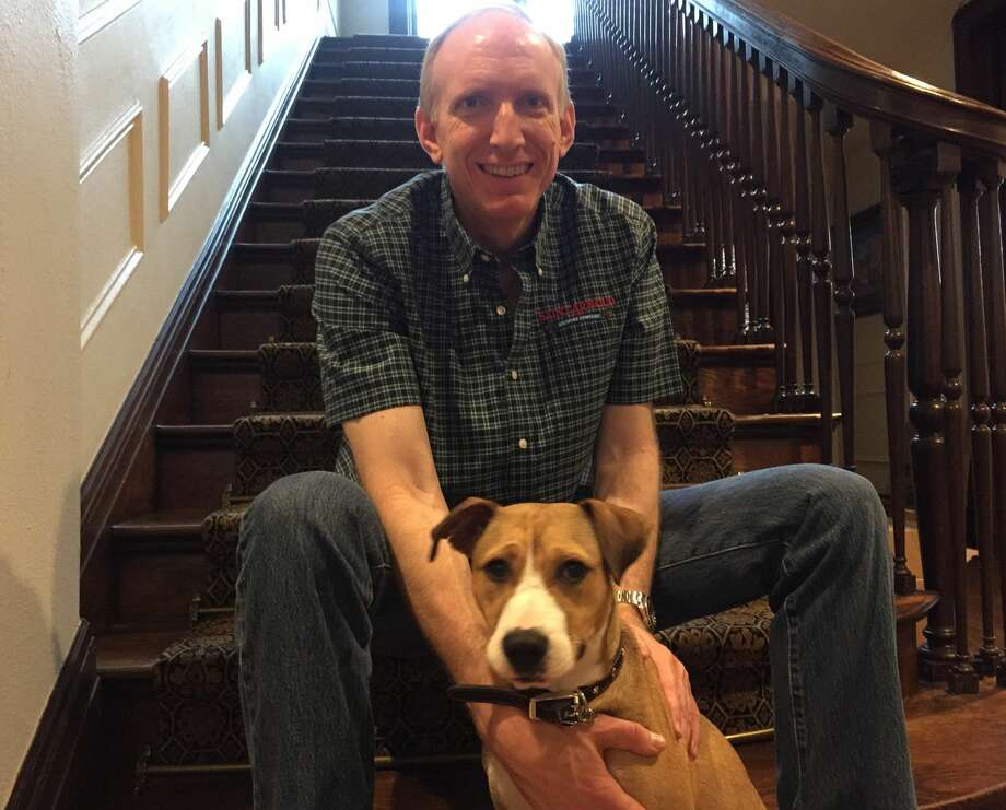 Thanks to tremendous help with the community, the lost Museum District dog, now named Delphi, found a home with St. Arnold Brewery co-founder Brock Wagner. Photo: Found Dog 01