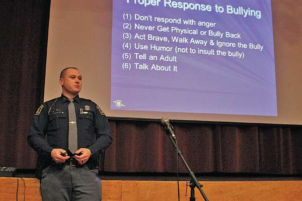 Michigan State Police Trooper Mark Swales talks to Laker students about how to respond to bullying. (Submitted photo)