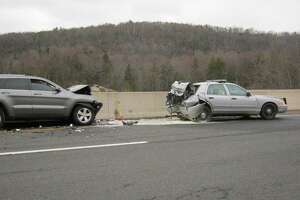 Jan. 23, 2017: Troop A - Southbury was stopped behind another State Police cruiser and a broken down motor vehicle (from a previous accident) on Route 7 northbound near Exit 12 in Brookfield when her cruiser was struck from behind by another motor vehicle. Both the trooper and the operator of the vehicle that struck the cruiser were transported to the hospital with minor injuries.