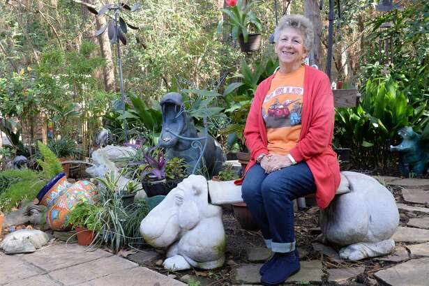 "Sue Shefman takes a rest in her backyard ""Hippo Garden"", Houston, Texas on Wednesday, February 15, 2017"