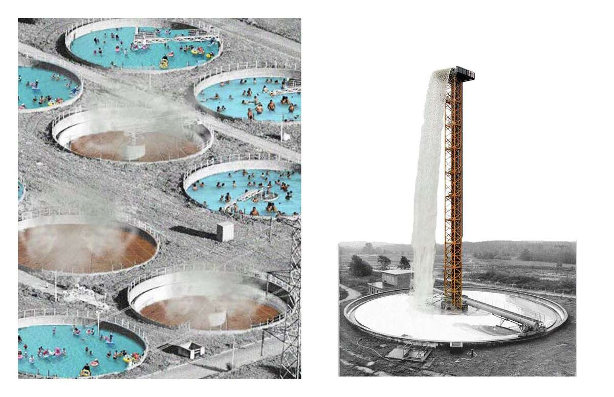 Conceptual drawings for a Water Treatment Water Park  imagined for the East End of Buffalo Bayou by Louise Roland + Jonah Susskind, students at the Harvard University Graduate School of Design.