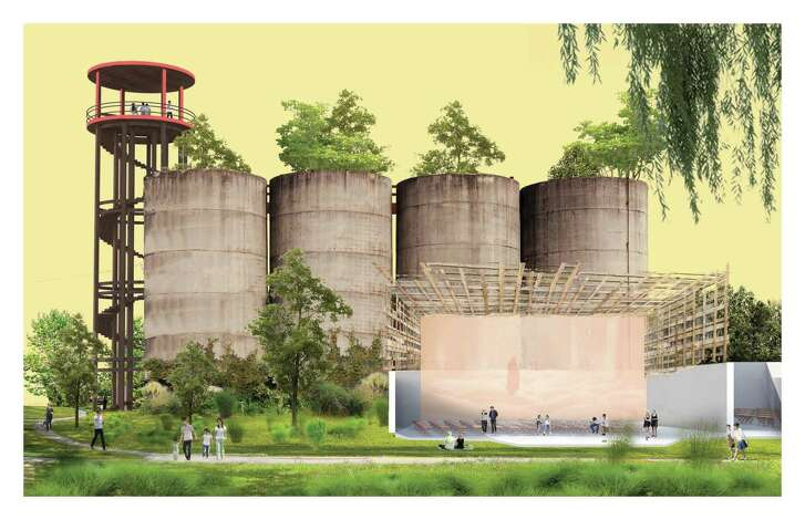 Conceptual drawings for a space called Watco Nursery + Cultural Incubator, imagined for Buffalo Bayou's East End by Yuxi Qin + Chris Reznich, students at the Harvard University Graduate School of Design.