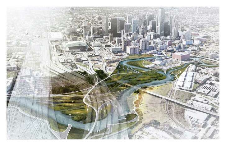 """A conceptual drawing for an """"I-69 Wetland Park"""" byXun Liu and Ziwei Zhang, students at the Harvard University Graduate School of Design, imagines a park along a portion of Buffalo Bayou that is currently under freeway overpasses."""