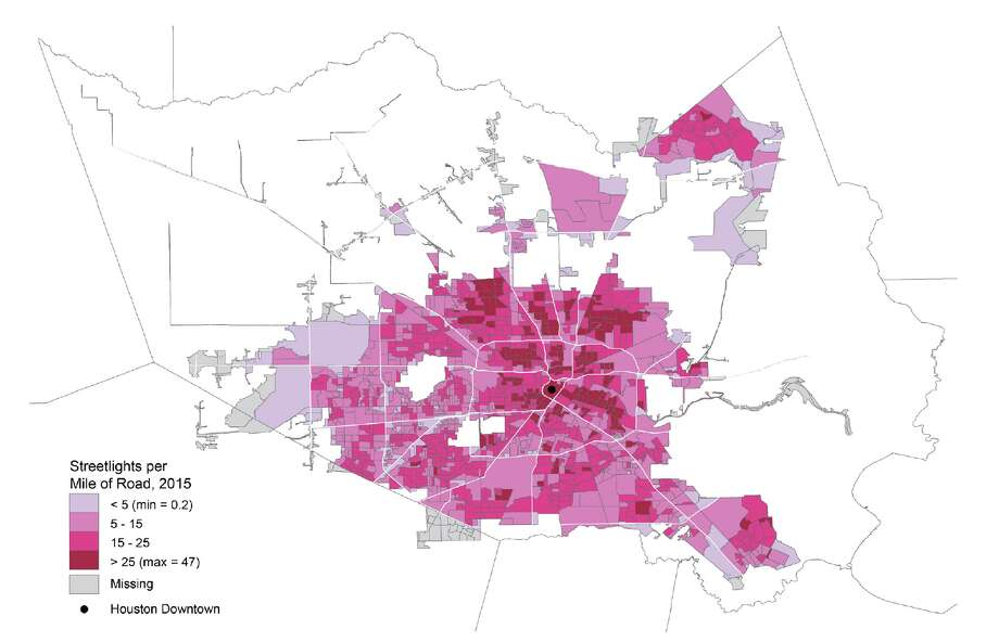 Map of streetlight concentration in Harris County, Texas.