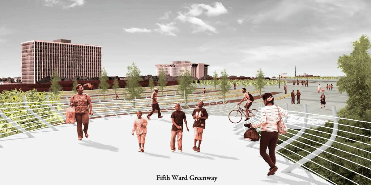 Conceptual drawings for the imagined Proler Productive Park along the East End of Buffalo Bayou by Adam Himes + Sophie Juneau, students at theHarvardUniversity Graduate School of Design.