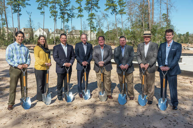 Executives from The Woodlands Development Company, a wholly owned subsidiary of The Howard Hughes Corporation, join Waterway Builders in breaking ground on Waterway Landing at East Shore, a new gated enclave of 59 luxury townhomes. Pictured, from left to right, are Antonio Paz, senior project manager; Kelly Dietrich, senior parks/recreation project manager; Heath Melton, vice president, MPC residential; and Tim Welbes, co-president – all with TWDC; John Bible and Worth Witmer, principals at Waterway Builders; Alex Sutton, co-president of TWDC; and James Ebrey, regional president of Spirit of Texas Bank.