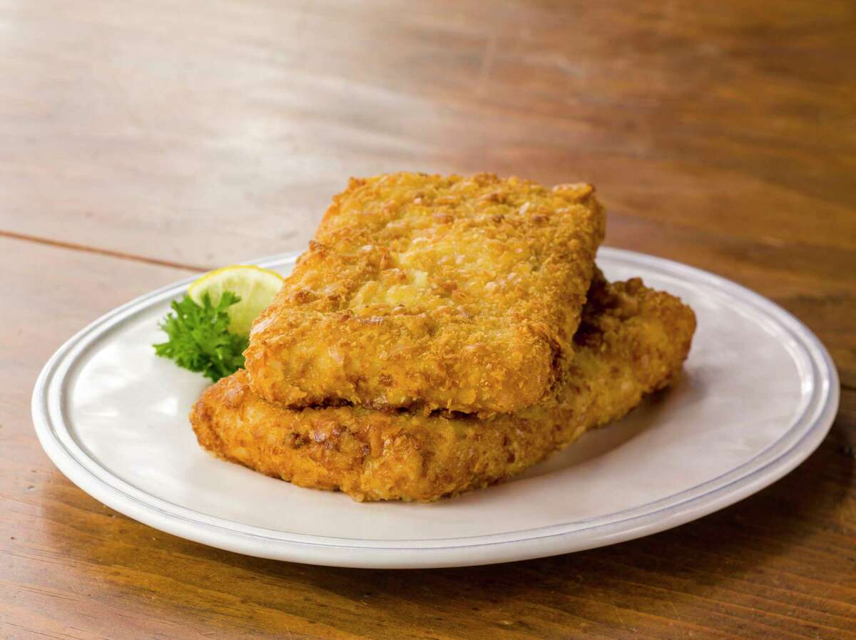 Super-sized fried fish It has been a popular entree item in the cafeteria line for decade but sadly it only comes in plate-sized portions. What if Luby's began selling them in pizza form: small, medium, and large, with tubs of tartar sauce for dipping? Sell them at music festivals!