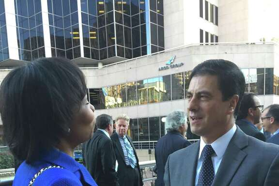 Outgoing North American Development Bank Managing Director Gerónimo Gutiérrez Fernández, set to become Mexico's ambassador to the United States, visits with San Antonio Mayor Ivy Taylor during a farewell reception Friday.