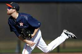Houston Astros starting pitcher Collin McHugh (31) during a pop up drill during spring training at The Ballpark of the Palm Beaches, in West Palm Beach, Florida, Monday, February 20, 2017.