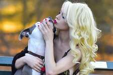 Courtney Stodden is seen in Central Park with a dog on February 20, 2017 in New York City.