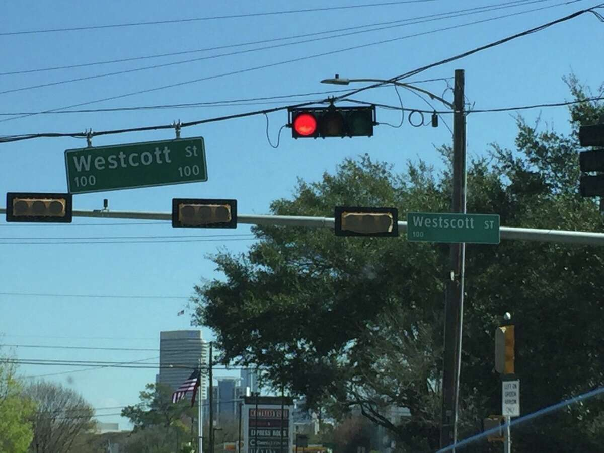 """A Reddit user snapped this photo of the new """"Westscott"""" sign at Memorial and Westcott."""