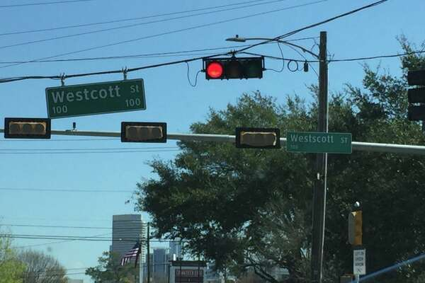 "A Reddit user snapped this photo of the new ""Westscott"" sign at Memorial and Westcott."