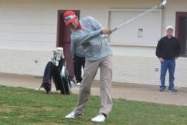 Plainview's Ryan Castillo follows through on a drive during the second round of the Plainview Invitational Saturday. Castillo shot a 4-under par 67 Saturday and won individual medalist honors for the tourney with a 3-under 139. The Bulldogs won the team title by 21 strokes.