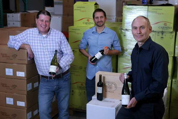 Ross Tefteller, from left, Brian Sandefur and Douglas Skopp, of Dionysus Imports, are featuring newly acquired wines.