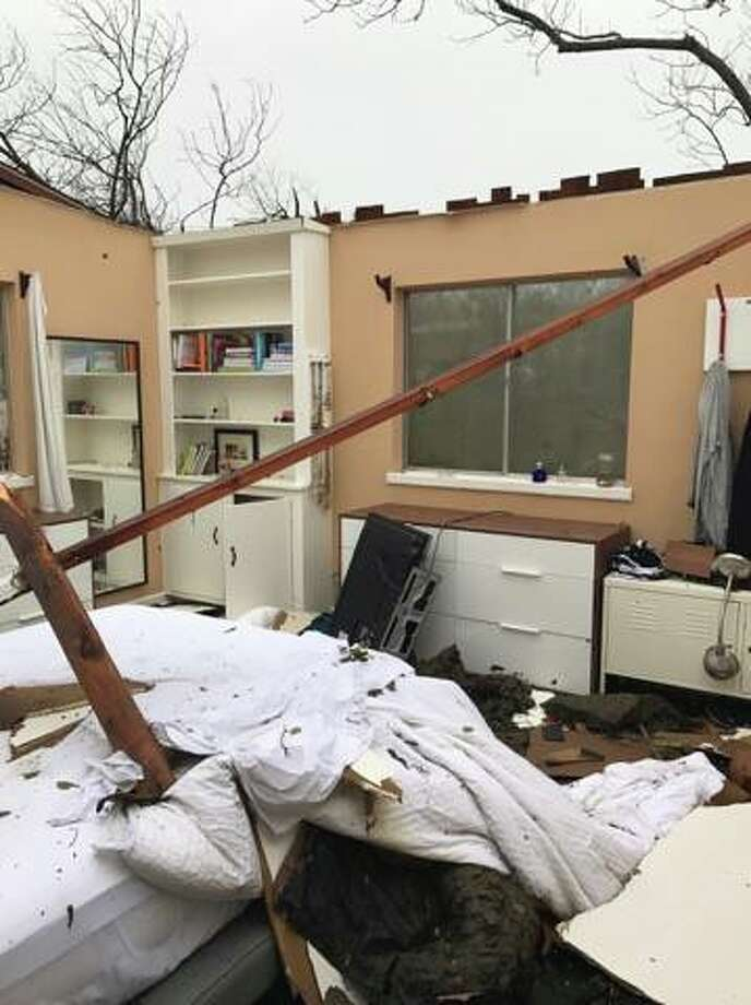 Damage at a home in the 300 block of Burnside Drive after tornadoes tore through San Antonio Sunday, Feb. 19, 2017. Photo: Mikela Kinnison