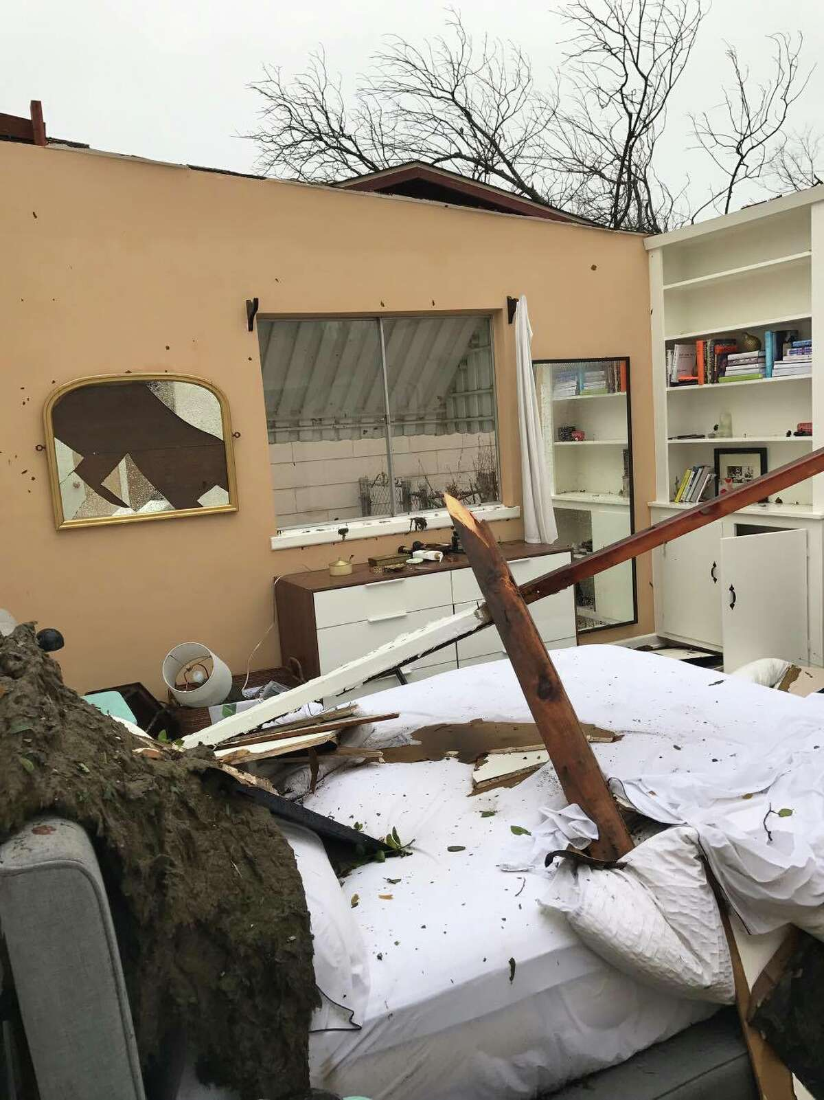 Damage at a home in the 300 block of Burnside Drive after tornadoes tore through San Antonio Sunday, Feb. 19, 2017.