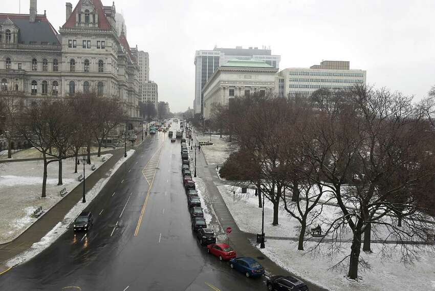 The New York State Capitol is seen at left looking up Washington Ave. from City Hall on Tuesday, Feb. 7, 2017 in Albany, N.Y. (Lori Van Buren / Times Union)
