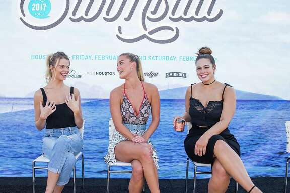 HOUSTON, TX - FEBRUARY 18:  (L-R) SI Swimsuit models Hailey Clauson, Nina Agdal, and Ashley Graham speak during a panel at the VIBES by Sports Illustrated Swimsuit 2017 launch festival on February 18, 2017 in Houston, Texas.  (Photo by Rick Kern/Getty Images for Sports Illustrated)