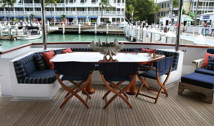 View of the lower deck area of the Reflections yacht.