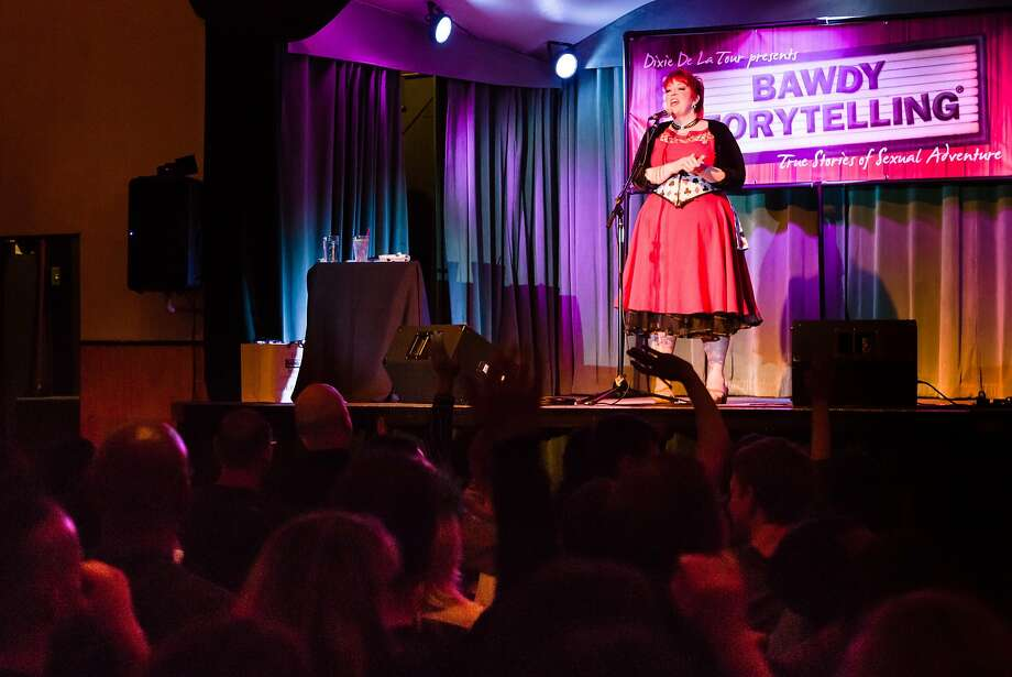 Dixie De La Tour at Bawdy Storytelling. Photo: Benjy Feen