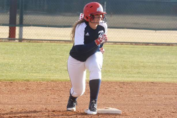 Plainview's Macey Mayberry gets ready to run at second base during a softball scrimmage earlier this season. The Lady Bulldogs began their regular season by winning one of four games at the Caprock Classic in Lubbock.