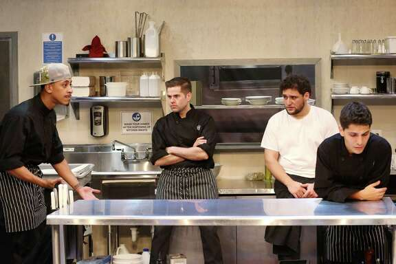 "Brandon Morgan, from left, Dayne Lathrop, Gabriel Regojo and Juan Sebastian Cruz star in Stages Repertory Theatre's production of ""My Mañana Comes."""