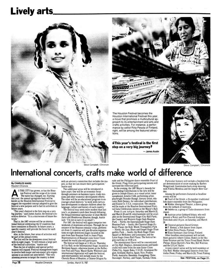 Houston Chronicle inside page - March 15, 1987 - section Zest, page 18. International concerts, crafts make world of difference Photo: HC Staff / Houston Chronicle