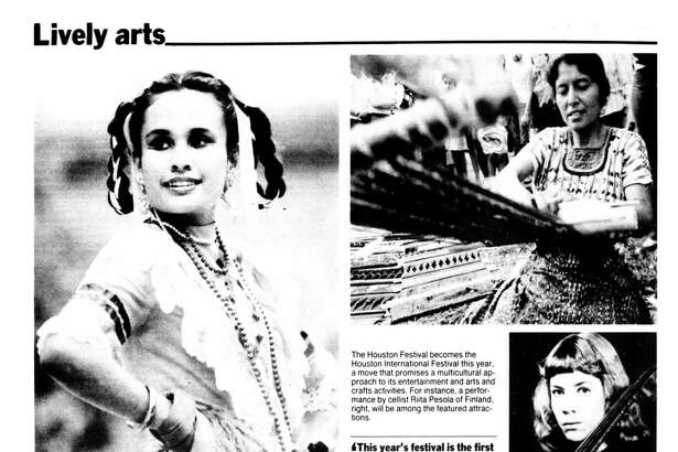 Houston Chronicle inside page - March 15, 1987 - section Zest, page 18. International concerts, crafts make world of difference