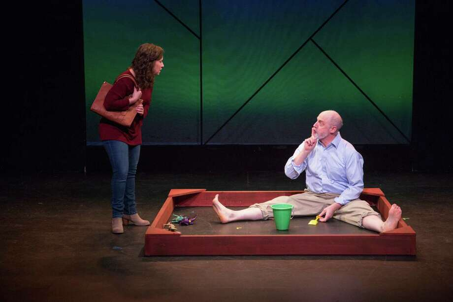 """Dina Thomas and Douglas Rees in """"Sandbox,"""" by Scott Mullen, one of the short works in the 10X10 festival at Barrington Stage. (BSC publicity photo by Scott Barrow.) Photo: Scott Barrow"""