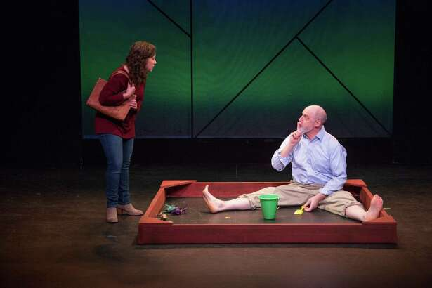 """Dina Thomas and Douglas Rees in """"Sandbox,"""" by Scott Mullen, one of the short works in the 10X10 festival at Barrington Stage. (BSC publicity photo by Scott Barrow.)"""