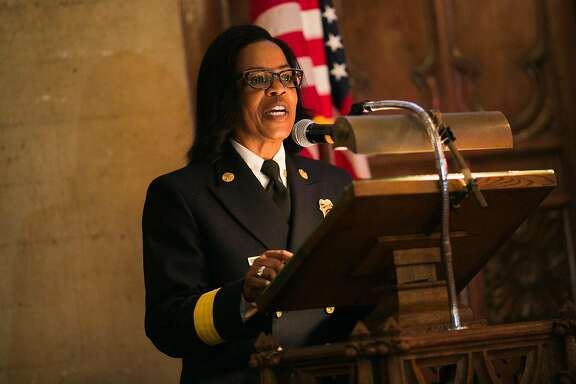 Oakland Fire Chief Teresa Deloach Reed speaks during Oakland NAACP's community event, Exposing Hidden Figures in our Community, in celebration of Black History Month at the Chapel of the Chimes in Oakland, Calif. Monday, February 20, 2017.