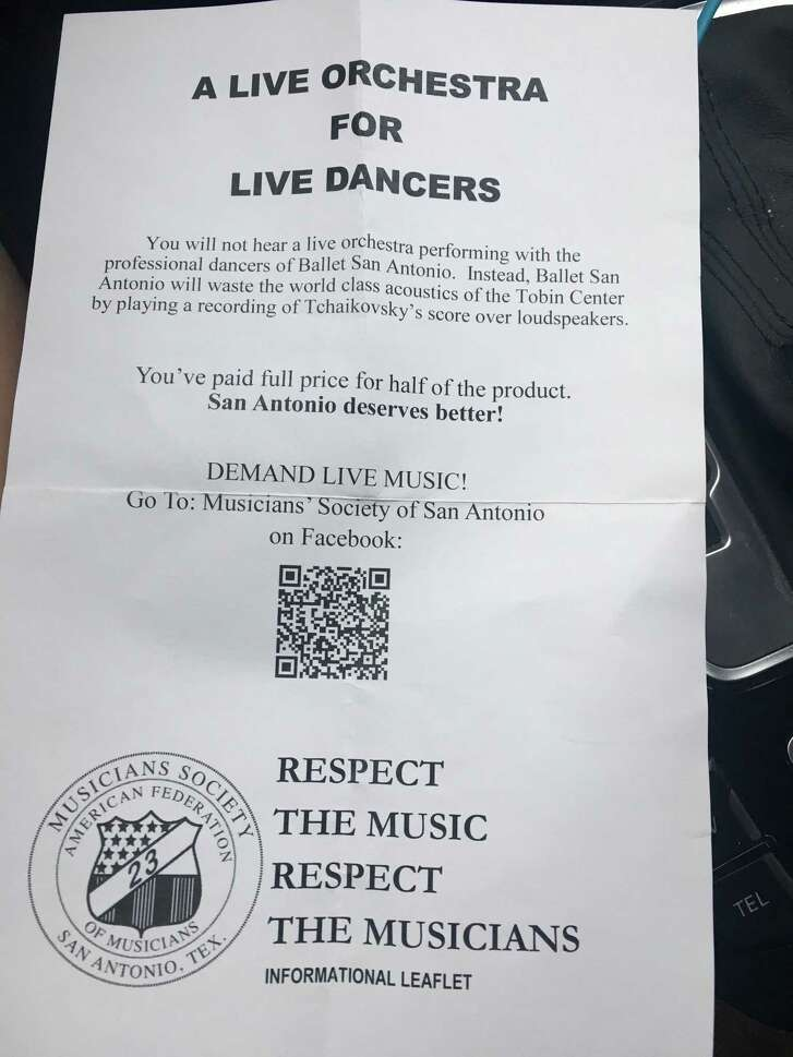 """Members of the Musicians Society of San Antonio handed out these fliers to protest the use of recorded music rather than a live symphony at the Ballet San Antonio production of """"Sleeping Beauty"""" Feb. 17-19 at the Tobin Center for the Performing Arts."""