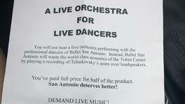 "Members of the Musicians Society of San Antonio handed out these fliers to protest the use of recorded music rather than a live symphony at the Ballet San Antonio production of ""Sleeping Beauty"" Feb. 17-19 at the Tobin Center for the Performing Arts."