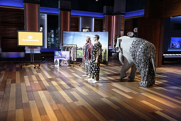 Entrepreneurs James Brooks and Nathan Coleman on the upcoming episode of Shark Tank, where they will pitch their Elephant Pants.