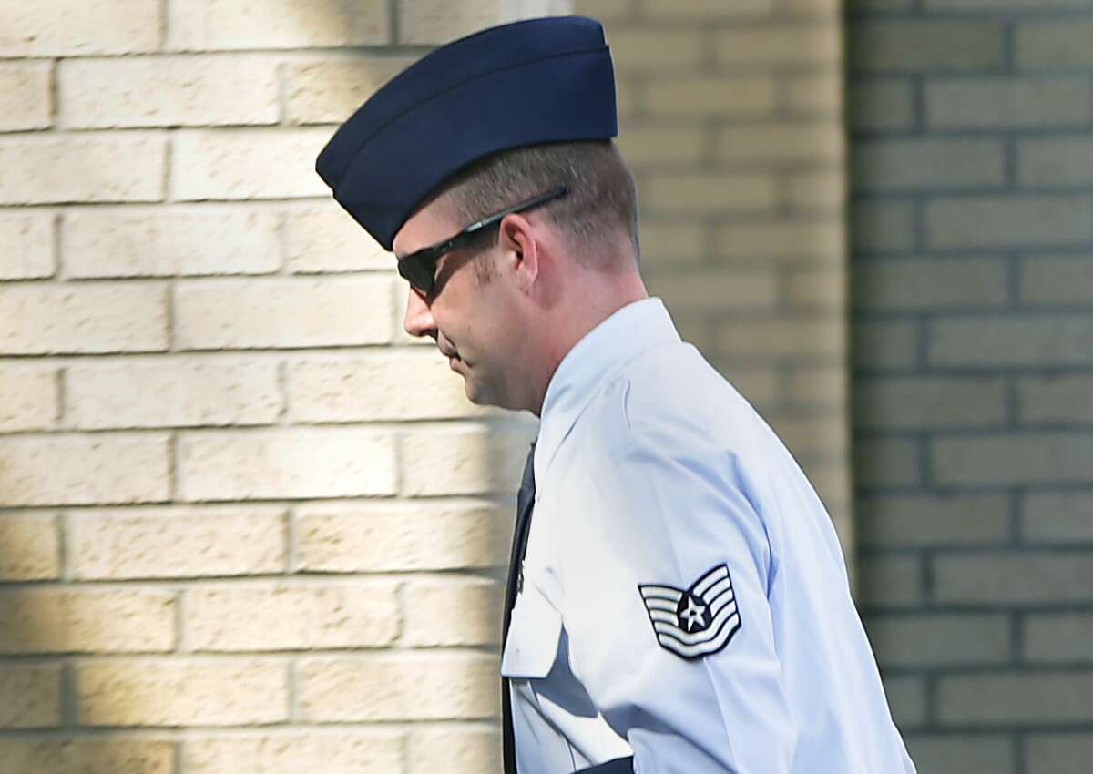 Tech Sgt. Anthony Lizana walks in for his court-martial at Joint Base San Antonio-Lackland in 2017. He was convicted of multiple charges of sexual misconduct, but an appeals panel threw out one for aggravated sexual assault and he was resentenced this week in San Antonio.