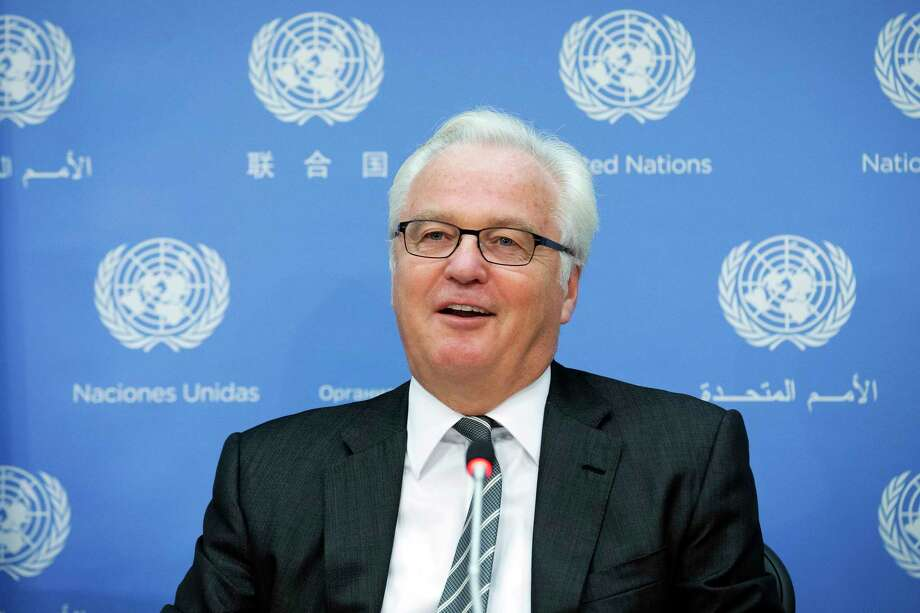 FILE - In this Friday, Aug. 22, 2014, file photo, Russian U.N. Ambassador Vitaly Churkin speaks during a news conference to discuss the crisis in Ukraine, at United Nations headquarters. Russian officials said Churkin died suddenly in New York City on Monday, Feb. 20, 2017. (AP Photo/John Minchillo, File) Photo: John Minchillo, FRE / Copyright 2017 The Associated Press. All rights reserved.