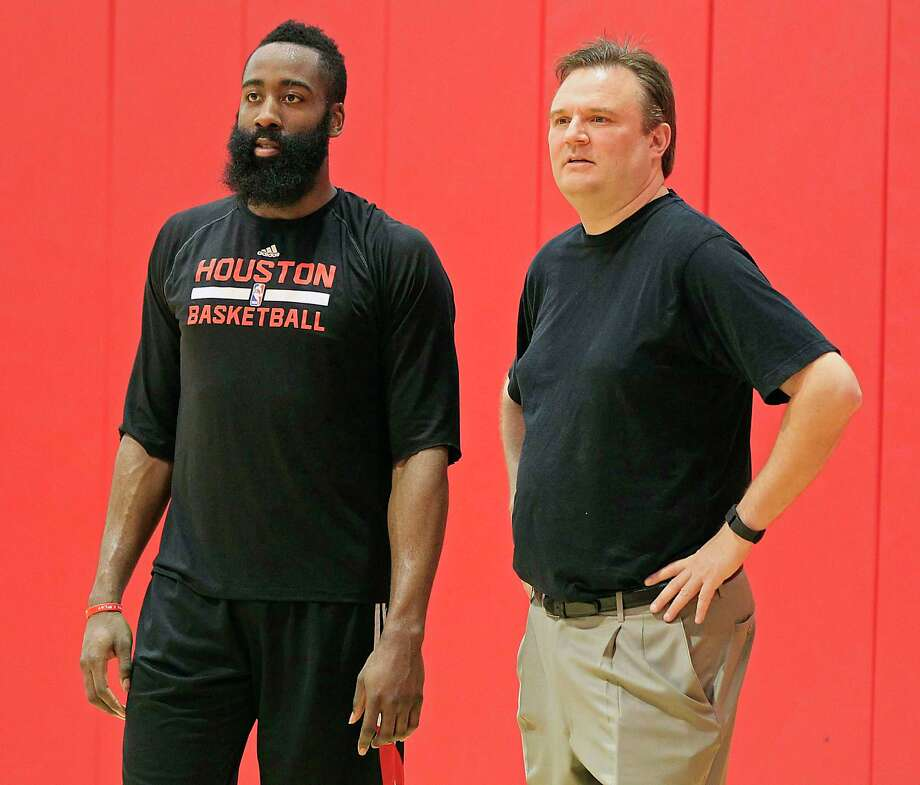 GM Darryl Morey, right, has been known to discuss possible moves with star players like James Harden, but no such talks have taken place so far this year. Photo: James Nielsen, Staff / © 2015  Houston Chronicle