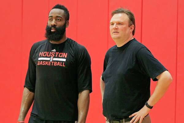GM Darryl Morey, right, has been known to discuss possible moves with star players like James Harden, but no such talks have taken place so far this year.