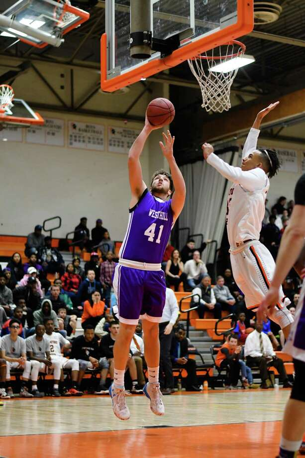 Hunter Semmel (41) of the Westhill Vikings shoots during a game against the Stamford Black Knights at Stamford High School on February 20, 2017 in Stamford, Connecticut. Photo: Gregory Vasil / For Hearst Connecticut Media / Connecticut Post Freelance