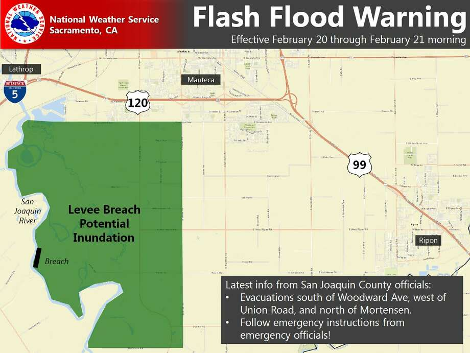 The National Weather Service issued a flash flood warning in San Joaquin County on Monday, Feb. 20, 2017. Photo: National Weather Service