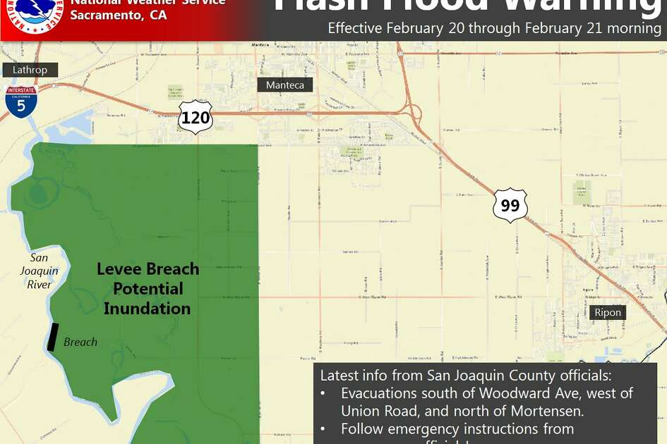 The National Weather Service issued a flash flood warning in San Joaquin County on Monday, Feb. 20, 2017.