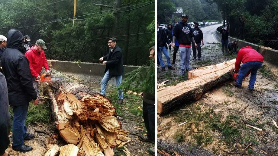 Frustrated Highway 17 drivers use teamwork to clear giant