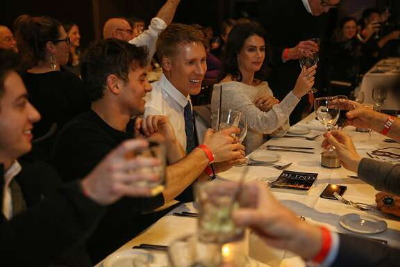 "Center: Dustin Lance Black during the ""When We Rise"" dinner event on Monday, Feb. 20, 2017, in San Francisco, Calif. The ABC mini-series ""When We Rise"" was written and created by Black."